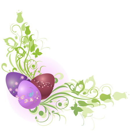 colored eggs: Vector Illustration of beautiful floral frame decorated with Easter Eggs.