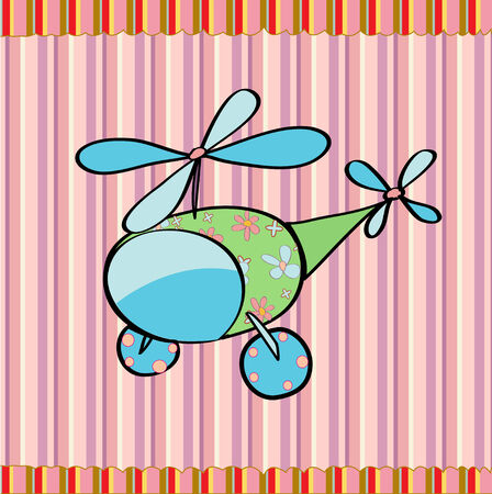 helicopters: cartoon vector illustration of a cute little helicopter on the retro striped  background Illustration