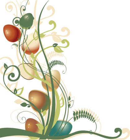 Vector Illustration of beautiful floral background decorated with Easter Eggs. Vector