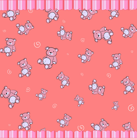 cubs: Cartoon vector illustration of retro funky background with Cute little teddy bears Illustration