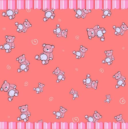 osos de peluche: Ilustraci�n de vector de dibujos animados de fondo de funky retro con osos de peluche poco cute