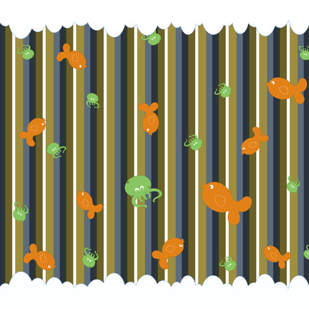 Cartoon vector illustration of  retro funky background with cute little fish and octopus Vector