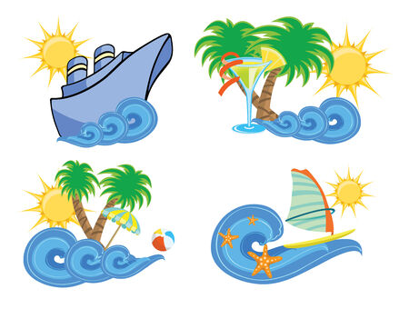Vector illustration of summer beach insignia set Vector