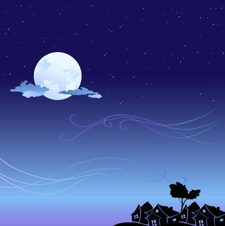 Vector illustration of romantic background with cartoon  skyline silhouettes  Vector