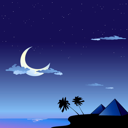 Vector illustration of romantic travel background with cartoon  skyline silhouettes of Pyramids in Egypt Vector