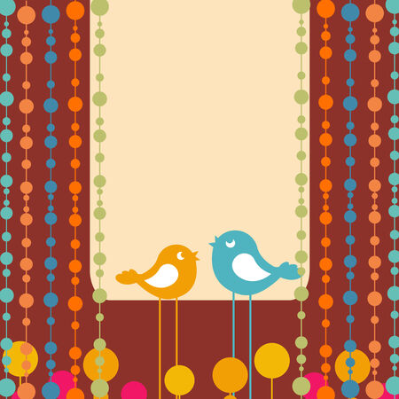 Illustration of retro Flowery design greeting card with two retro-style birds