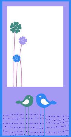 Illustration of retro Flowery design greeting card with two retro-style birds Vector