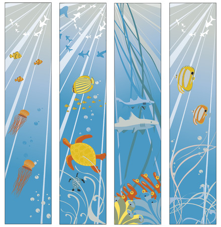 illustration of Colorful banners set with creatures of the seas. Friendly kids style. Vector