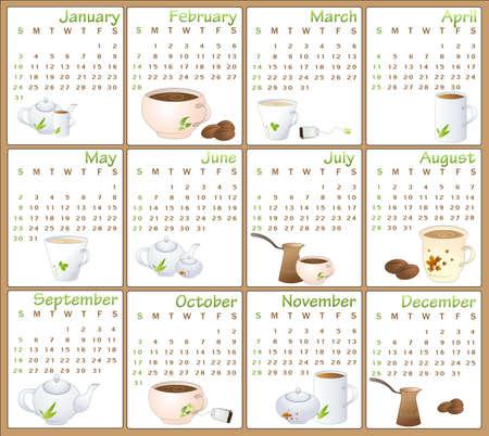 Illustration of cafe style design Calendar for 2010 illustration