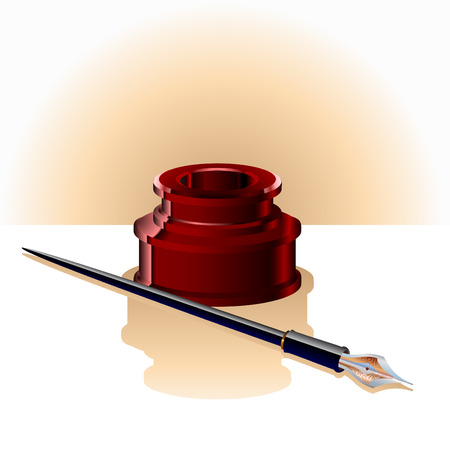 quills: Illustration of elegant ink bottle and pen.