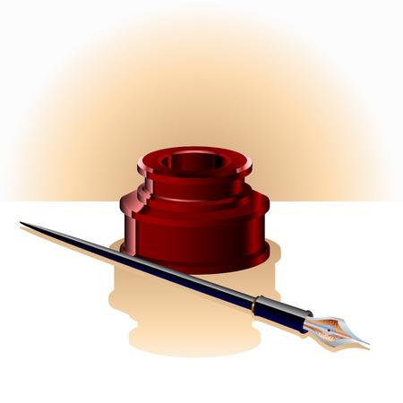 pluma de escribir antigua: Ilustraci�n de la elegante botella de tinta y pluma.