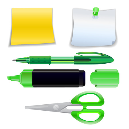 Illustration of the office supplies icon set. Stock Vector - 5754536