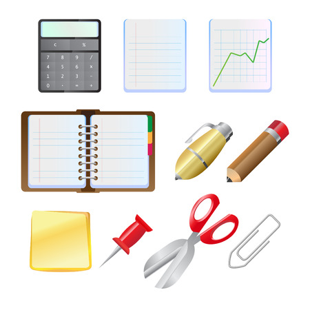 Illustration of the office supplies icon set.  Vector