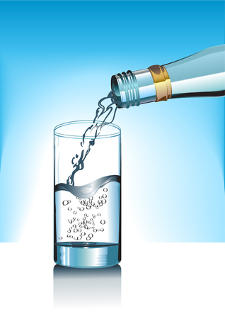 Illustration of the cup and mineral water bottle. Vector
