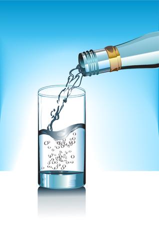 watery: Illustrazione del bicchiere e bottiglia di acqua minerale.