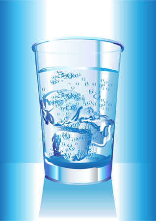 Illustration of the water glass with ice cubes. Vector