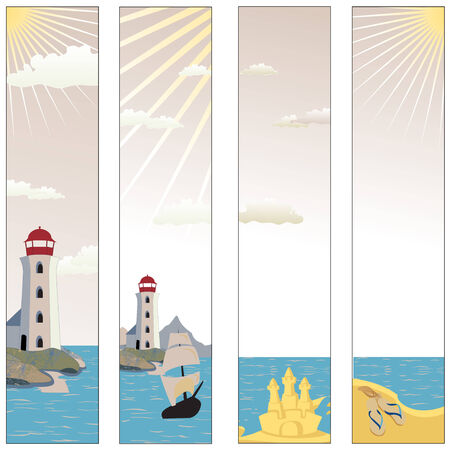 illustration of Colorful banners set with  lighthouse on a beach with boat and reflective sea water  Vector