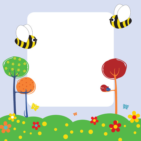 bee on flower:  Illustration of retro nature design greeting card with copy space for your text Illustration