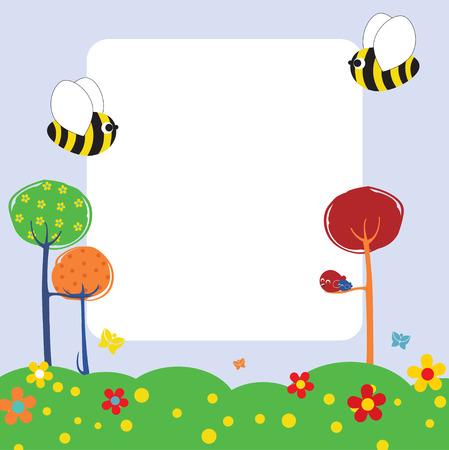 abeja caricatura: Ilustraci�n de dise�o retro naturaleza tarjeta de felicitaci�n con copia espacio para el texto Vectores