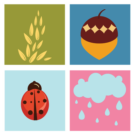 Illustration of retro nature design Pretty summer pictures in Friendly kids style Vector