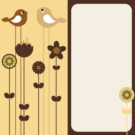 Illustration of retro Flowery design greeting card with two of retro-style birds Vector