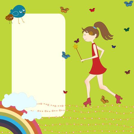 Illustration du design r�tro de cartes de voeux avec la petite fille en rollers et de l'espace copie pour votre texte Illustration