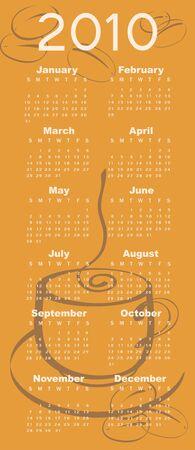 Illustration of coffee style design Calendar for 2010 illustration