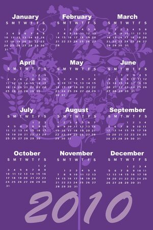 Illustration of style design Calendar for 2010 illustration