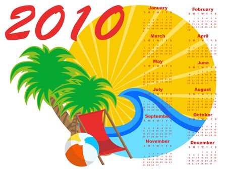 chronology: Illustration of stylish design Calendar for 2010 with summer background.