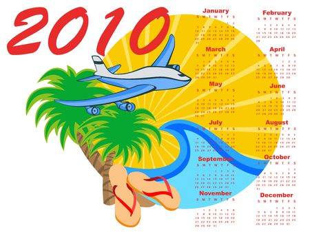 chronology:  Illustration of stylish design Calendar for 2010 with summer background. Stock Photo