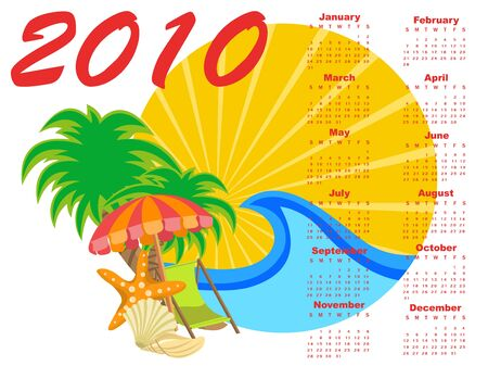 Illustration of stylish design Calendar for 2010 with summer background. illustration