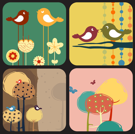 Vector Illustration of style design greeting cards with retro-style birds and trees Vectores