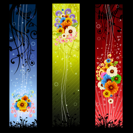 Vector Illustration of floral swirl beautiful banners. Vector