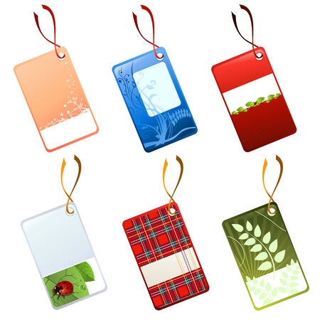 Vector illustration of different tags, decorated with flowers, leaves and other patterns. Vector