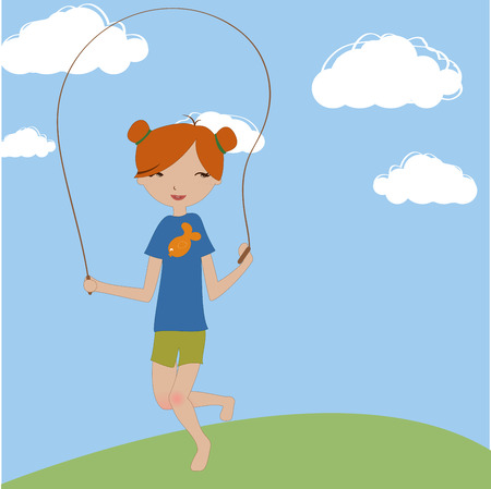 Vector Illustration of the little girl jumping with the skipping rope. Vector