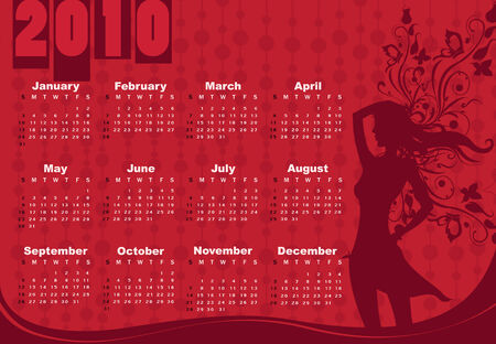 Vector Illustration of style design Calendar for 2010 With sexy girl Vector