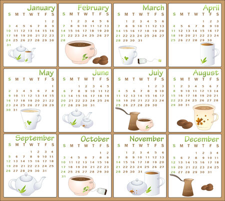 Vector Illustration of cafe style design Calendar for 2010 Vector