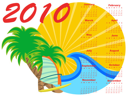 chronology: Vector Illustration of stylish design Calendar for 2010 with summer background.