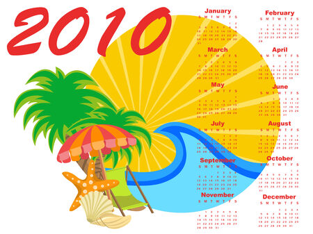 Vector Illustration of stylish design Calendar for 2010 with summer background. Stock Vector - 5861404