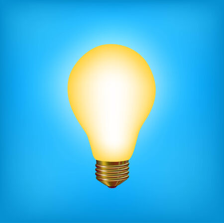 vector illustration of the light bulb brighting with yellow light on the blue background Vector