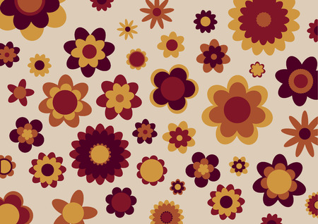 Vector illustration of multicolored funky flowers abstract pattern  Vector