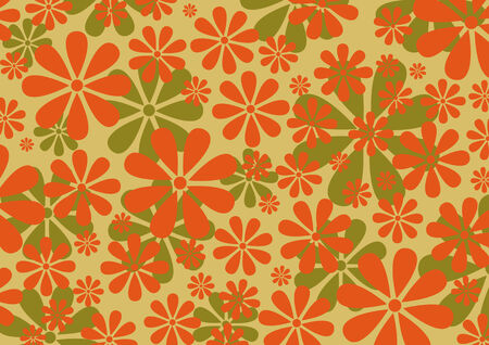 illustraition: Vector illustraition of   Retro Daisy Pattern  background Illustration