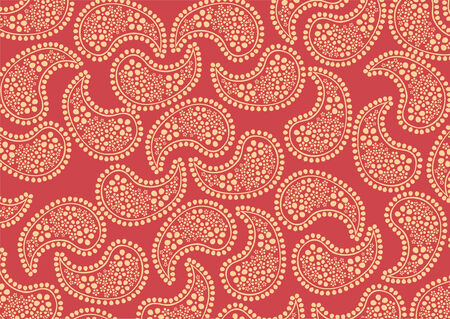 Vector illustraition of repeating orange paisley pattern on red background  Vector