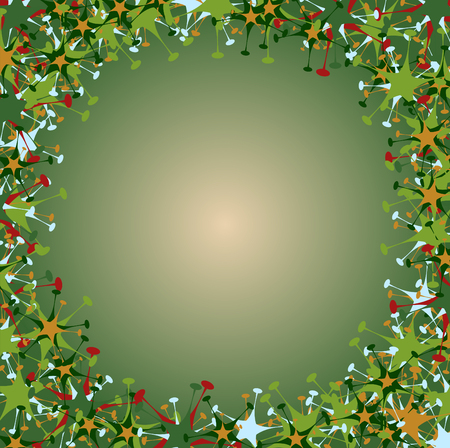 Vector illustration of  frame made  of funky  multicolored stars  shape.