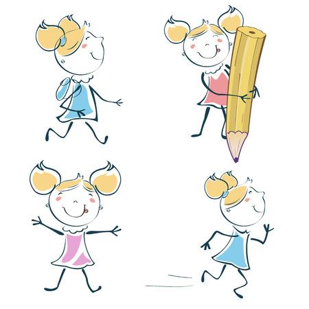 Vector Illustration of cartoon little schoolgirl icon educational set in children hand-drawing style