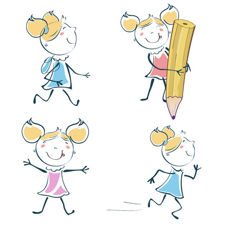 Vector Illustration of cartoon little schoolgirl icon educational set in children hand-drawing style