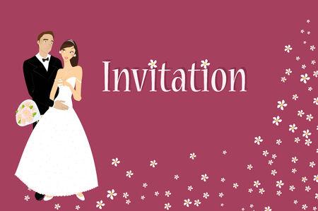 heterosexual: Ilustraci�n vectorial de la invitaci�n de boda funky con novio y novia sexy cool