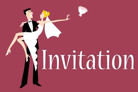 heterosexual: Ilustraci�n vectorial de la invitaci�n de boda funky con novio y novia sexy cool  Vectores