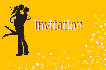 heterosexual: Vector illustration of funky invitation with cool young sexy couple