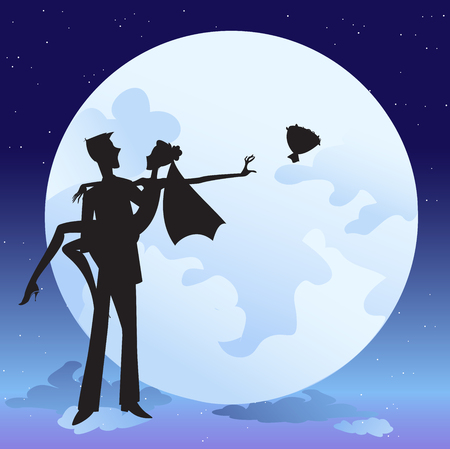 Vector illustration of  bride and bridegroom in  romantic night on the sky background with Giant beautiful full moon Vectores